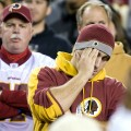 Washington Redskins fans react after team failed to score in NFL game in Landover
